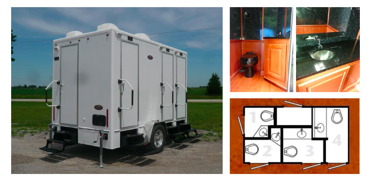 Interior of the 16 Foot Portable Restroom Trailer